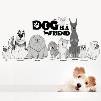 Наклейка на стену Собака друг человека
