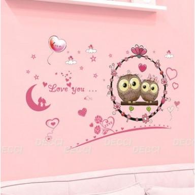 Наклейка на стену Совиное люблю