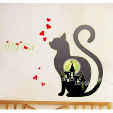 Наклейка на стену Таинственная кошка