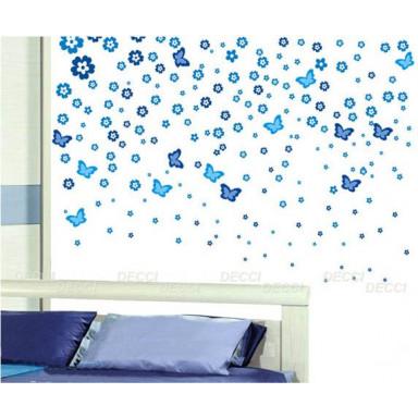 Наклейка на стену Цветочная россыпь, голубой