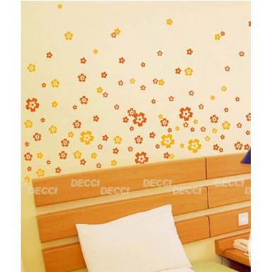Наклейка на стену Цветочная россыпь оранжевый