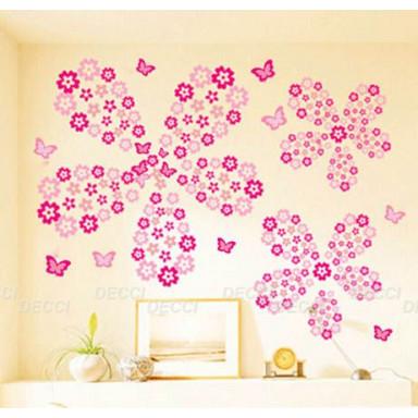 Наклейка на стену Цветочная россыпь, светло-розовый