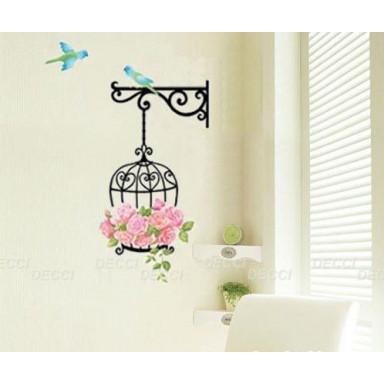 Наклейка на стену Цветы и птички
