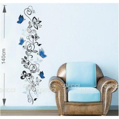 Наклейка на стену Узор с голубыми бабочками