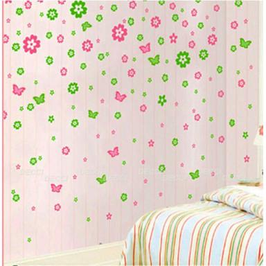 Наклейка на стену Цветочная россыпь зеленый
