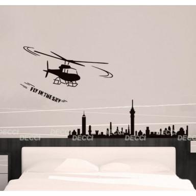 Наклейка на стену Вертолет