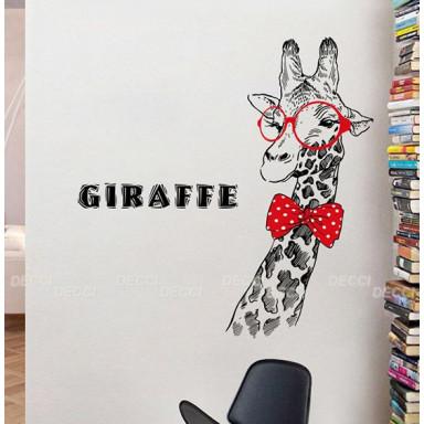 Наклейка на стену Жираф в очках