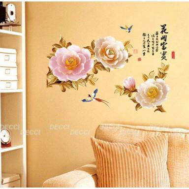 Наклейка на стену Золотые розы