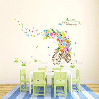 Наклейка на стену Велосипед с цветочками