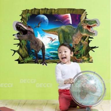 Наклейка на стену Юрский период 3D эффект