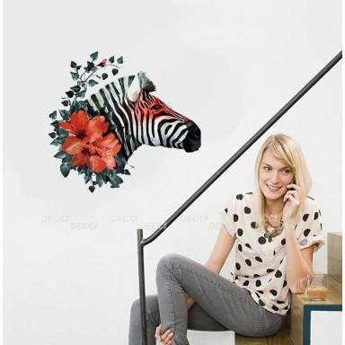 Наклейка на стену Зебра и цветы