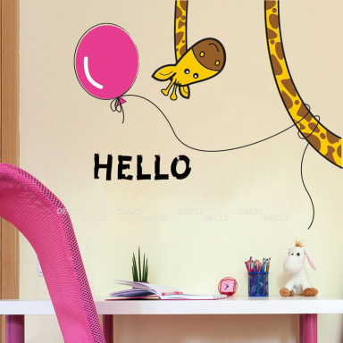 Наклейка на стену Жираф и шарик