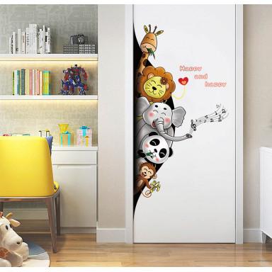 Наклейка на двери, стену Звери с 3D эффектом.