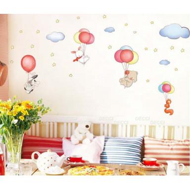 Наклейка на стену Зверюшки на шариках