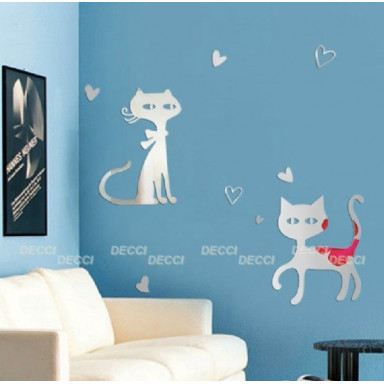 Наклейка на стену зеркальная Грациозные кошки