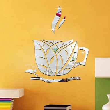 Наклейка на стену зеркальная Чашка чая