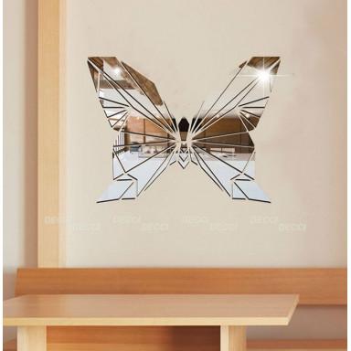Наклейка на стену зеркальная Геометрическая бабочка цвет серебро