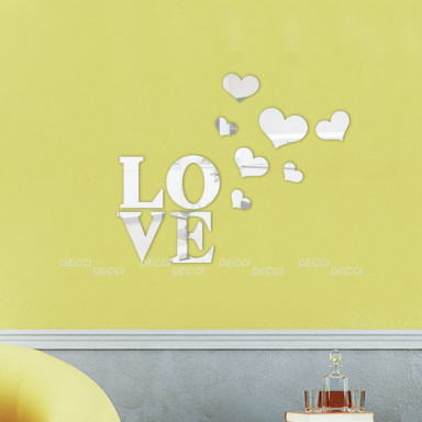 Акриловое зеркало Зеркало LOVE сердечки