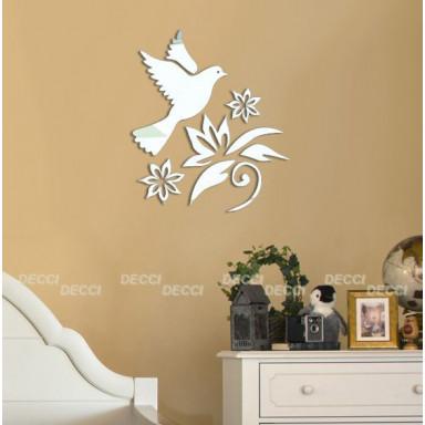 Наклейка на стену зеркальная Птичка мини