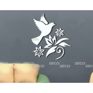 Наклейка на стену зеркальная Птичка