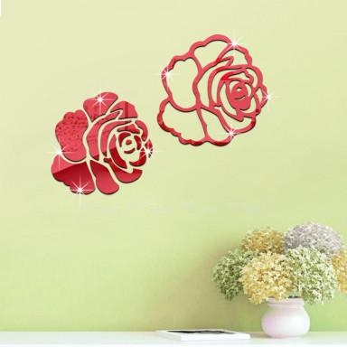Акриловое зеркало Розы, цвет красный