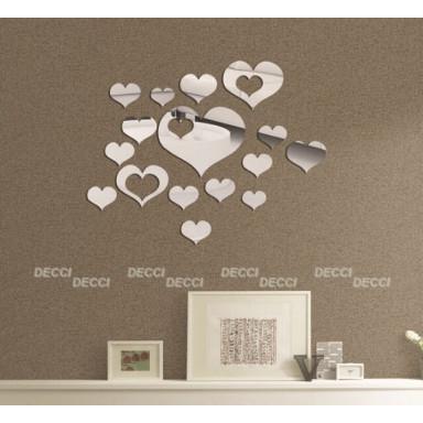 Наклейка на стену зеркальная Сердечки