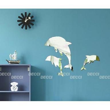 Наклейка на стену зеркальная Три дельфина