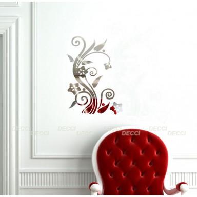 Наклейка на стену зеркальная Цветы-орнамент