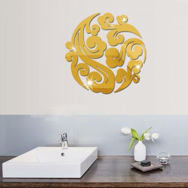 Наклейка на стену зеркальная Узоры золото