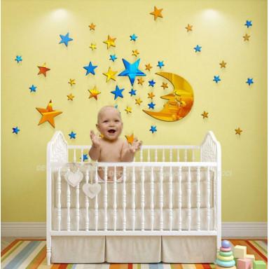 Наклейка на стену зеркальная Яркие звезды