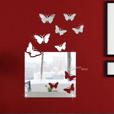 Наклейка на стену зеркальная Зеркало-окно с бабочками